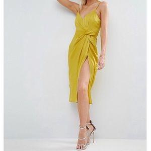 Satin Strappy Midi Dress